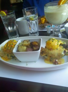 Eggs Benedict with 2 Hamburger Patties