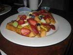 French Toast with fruit Burgers & Benedicts